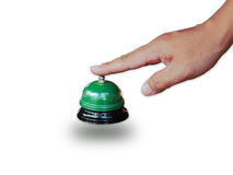Hand man push hotel bell Royalty Free Stock Photography