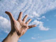 Hand of a man reaching to towards sky. Color toned image. Selective focus Stock Image