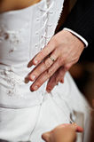Hand the man with a ring at a dress of the bride Stock Photos