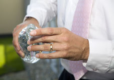 Hand of man and the schnapps Royalty Free Stock Photography