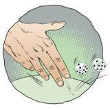 Hand of man throwing dice. Stock illustration. Royalty Free Stock Photos