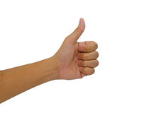 Hand of man with thumb up isolated Royalty Free Stock Photos