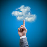 Hand man touch the cloud technology concept. Detail Stock Photo