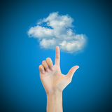 Hand man touch the cloud technology concept Stock Photo