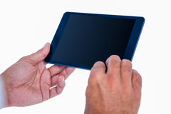 Hand of man touching tablet computer Stock Images