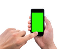 Hand  of man use mobile smart phone with chroma key green screen Royalty Free Stock Photos