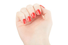 Hand with manicure and red nail polish Stock Photos