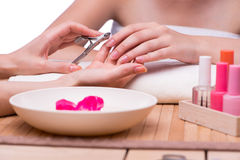 The hand manicure treatment in health concept Royalty Free Stock Photography