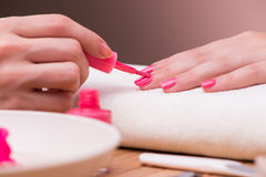 The hand manicure treatment in health concept Royalty Free Stock Photos