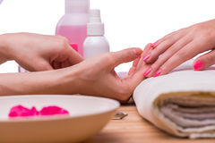 The hand manicure treatment in health concept Royalty Free Stock Photo