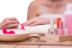 The hand manicure treatment in health concept Royalty Free Stock Images