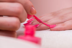 The hand manicure treatment in health concept Royalty Free Stock Image