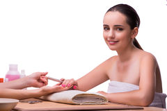 The hand manicure treatment in health concept Stock Images
