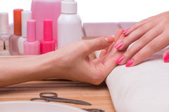 The hand manicure treatment in health concept Stock Photos