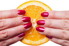 Hand with manicured nails painted a deep glossy red. Touch an orange on white background stock photos