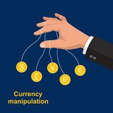 The hand manipulating. Bank notes.The puppeteer in the stock market.Currency transactions at the exchange.Vector illustration in flat style Stock Photography