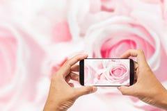 Hand manliga asiatiska hållande Smartphone som tar bilden av härligt f royaltyfria bilder