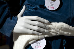 Hand of a mannequin Stock Images