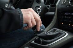 Hand on manual car shift. Slovakia. Hand of the man on manual car shift while driving the car. Slovakia stock photos