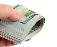 Hand with many dollars Royalty Free Stock Photography