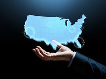 Hand with map of united states of america Royalty Free Stock Image