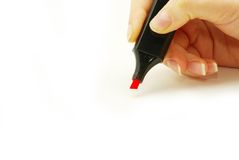 Hand with marker Stock Images