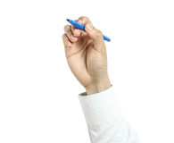 Hand with marker drawing isolated Royalty Free Stock Images