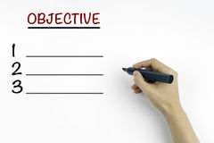 Hand with marker. Objective blank list, business concept Royalty Free Stock Photography