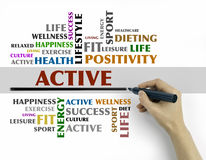 Hand with marker writing - ACTIVE word cloud, fitness, sport, he Stock Photos