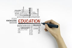 Hand with marker writing - EDUCATION word cloud concept Stock Photos