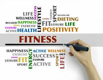 Hand with marker writing - FITNESS word cloud, fitness, sport, h Stock Photo