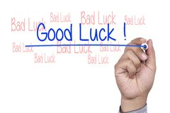 Hand with marker writing Good Luck stock photo