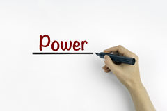 Hand with marker writing: Power, health concept Stock Photo