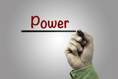Hand with marker writing: Power, health concept Royalty Free Stock Images