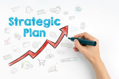 Hand with marker writing - Strategic Plan concept.  Royalty Free Stock Photography
