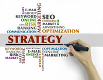 Hand with marker writing - Strategy word cloud, Business concept Royalty Free Stock Images