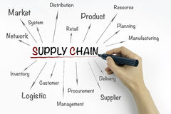 Hand with marker writing supply chain management concept.  Royalty Free Stock Photos