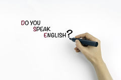 Hand with marker writing text: Do you speak english? Royalty Free Stock Photography