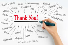 Hand with marker writing Thank You. In different languages of the world Stock Images