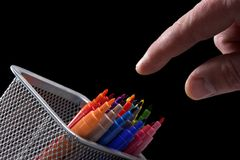 Hand and marking pens Stock Photos