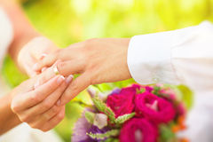 Hand of married people stock images