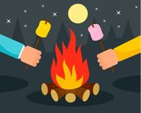 Hand with marshmallow at camp fire background, flat style. Hand with marshmallow at camp fire background. Flat illustration of hand with marshmallow at camp fire Royalty Free Stock Images