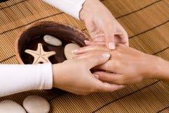 Hand massage. At the spa salon royalty free stock photo