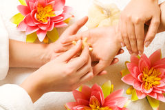Hand Massage. Woman getting a hand massage (close up on hands royalty free stock image