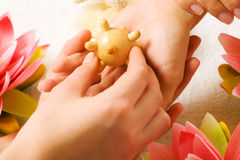 Hand Massage. Woman getting a hand massage (close up on hands stock photo