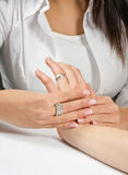 Hand massage Stock Photography