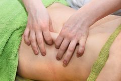 Hand massage of the abdomen. Body care. Non surgical body sculpting. Anti-cellulite and anti-fat therapy in beauty salon. Hand massage of the abdomen. Body care stock images