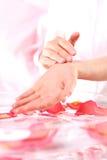 Hand massage, acupressure Stock Photo