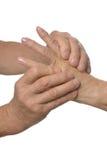 Hand massage closeup Stock Photo