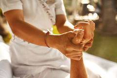 Hand Massage At Day Spa Salon Outdoors. Body Skin Care Royalty Free Stock Photography